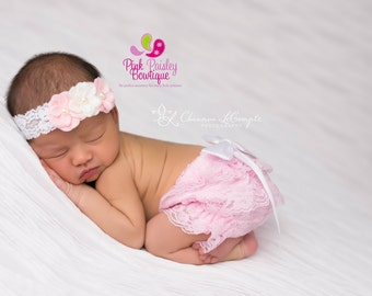 Baby Girl 1st Birthday Cake Smash Outfit - Newborn Headband and Bloomers Newborn Photo Outfit- Pink Baby Girl Birthday - Hospital Photos