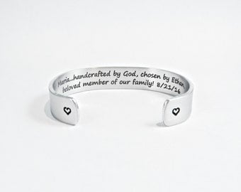 """Daughter-In-Law Gift ~ (Name)...handcrafted by God, chosen by (Name), beloved member of our family! (Wedding Date) ~ 1/2"""" message cuff"""