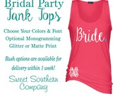 Bridal Party Tank Tops - Wedding and Bachelorette Shirts - Choose Your Title, Sizes, Colors and Fonts