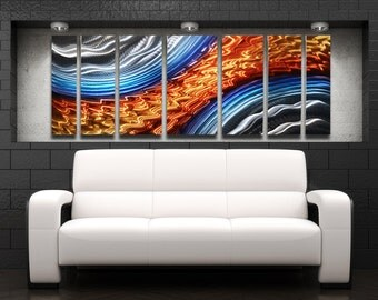 "Large Metal Wall Art Panels Modern Orange Blue Metal Wall Art Work Painting Aluminum Sculpture Contemporary Home Decor ""Titan Storm"""
