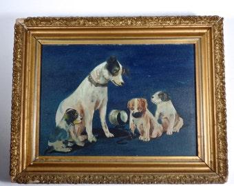 Antique Dog Oil Painting in original gilt frame, antique Terrier oil painting