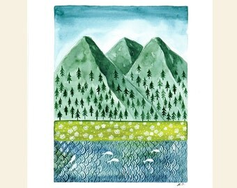 Original Watercolor painting illustration Mountains landscape art pine trees flower meadows river Nature outdoors Wall decor