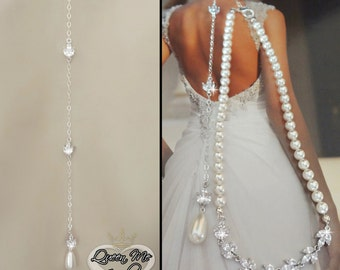 Brides necklace ~ AAA Cubic Zirconia's ~ Pearl necklace with backdrop~ Wedding Necklace~ Back drop~ Swarovski pearl necklace~ Stunning~LILLY