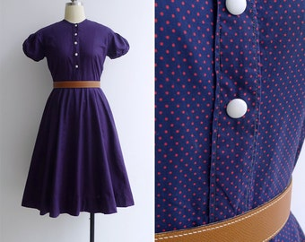 Vintage 40's 50's Indigo Blue Polka Dot Puff Sleeve Dress XS or S