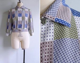 Vintage 70's Patchwork Squares Quilt Print Crop Blouse Top XS S