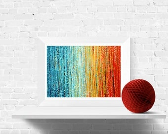 Turquoise and Orange Abstract Art Print - Summer Sunset - Wall Art Print of Original Turquoise & Orange Abstract Painting by Louise Mead