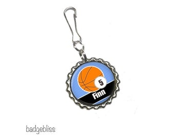 Personalised zipper pull, bag charm - Basketball zip pull.