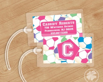 Soccer -   Luggage Tag, Bag Tag, Backpack Tag, ID Tags, Personalized, Custom