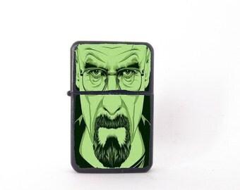 Breaking Bad lighter, custom lighter, Heisenberg collectable, Heisenberg lighter, green Heisenberg, Star lighter, green breaking bad art