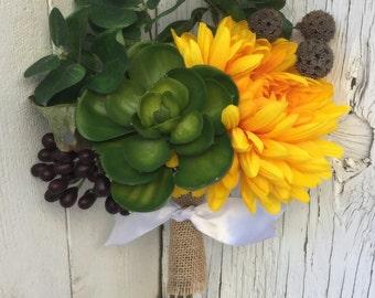 Fall Succulent Silk Wedding Bouquet with Yellow Chrysanthemum, Autumn Berries and Eucalyptus - Petite Mini Bouquet / Bridesmaid Bouquet