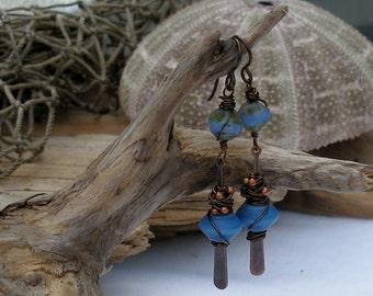 Denim Flirt--Denim Blue Lampwork and Copper Earrings   648