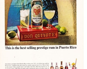 Vintage Original Magazine Print Advertisement - Wall Art - Wall Decor - Man Room - Don Quixote - Budweiser - Puerto Rico - Rum - Beer