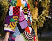 Special order for Betty - Crochet freeform patchwork hippie vest jacket hippie dress boho chic vintage high fashion bohemian gypsy