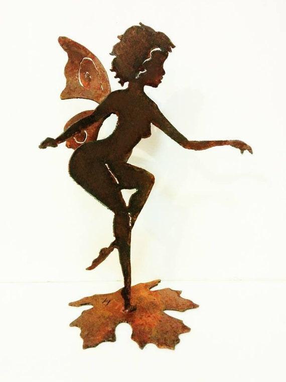 Flirty Fairy Garden Art from Recycled Metal, Fairy Garden, Rusty Metal, Gardener Gift