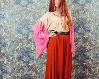 Vintage full skirt, silk skirt,Red silk skirt,Full skirt,bohemian skirt.size medium to small