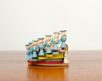 Vintage Wood Italian Figural Nautical Coasters Set of Seven - Mid Century