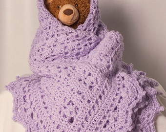 "NEW! Baby Afghan Hand Made Heirloom, Soft and snuggly lilac, Crochet, large 37"" x 44"" Christening, Baptism, Nursery, Toddler blanket"