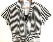 Vintage Striped Tie Front Crop Top