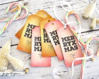 Pink Christmas Tags - Set of 6 Eco Friendly Merry Xmas Gift Tags - Cotton Candy Christmas! Pink, Marigold, Pool Blue, Violet Holiday Decor
