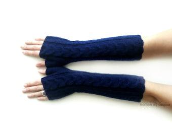 Long Fingerless Gloves, Knit Gloves, Winter Mittens