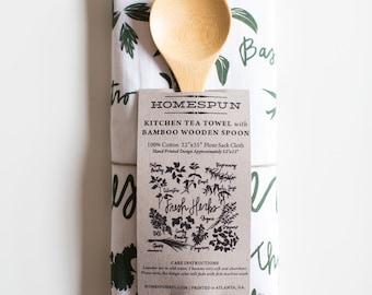 Fresh Herbs Tea Towel with Wooden Spoon