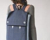 Blue Laptop Backpack, Blue Backpack, Canvas Backpack, Monster Backpack, Cute Backpack, Blue Laptop Bag, School Backpack, Vegan backpack