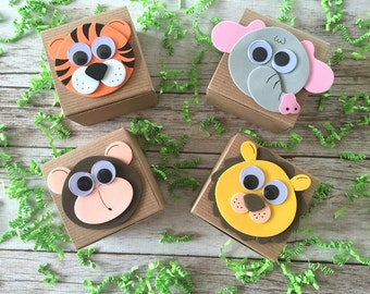 10 baby shower jungle rustic personalized  favor boxes