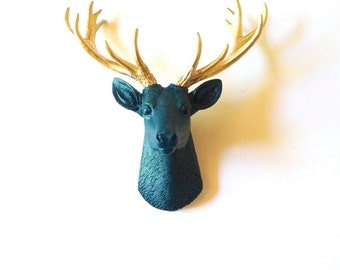 Dark Peacock Blue Gold SMALL Faux Taxidermy Deer Head wall mount wall hanging / stag head / faux animal head / faux taxidermie / woodland