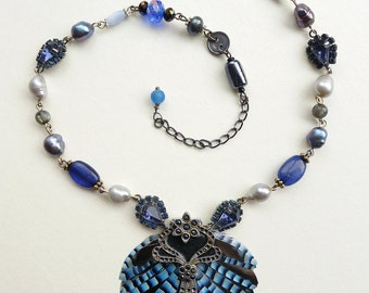 Jay Feather Statement Necklace. Feather Assemblage bib necklace