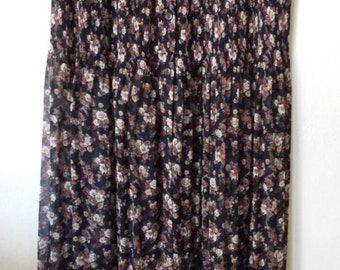 "Boho Rayon Broomstick Maxi skirt Floral print crinkled lightweight crnikled micro-pleated (W 29"" - 36"")"