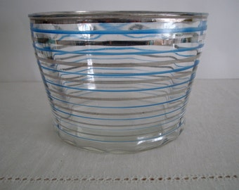 Vintage ICE BUCKET with Blue & Silver STRIPES and Silver Rim: Retro Barware, Striped Glass Bowl