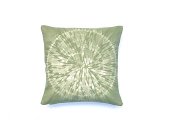Light Green Throw Pillow with Nui Shibori Circle Design Sage Green Shibori Pillow Cover Decorative Throw Pillow 18 x 18 Fall Throw Pillows