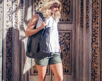SANTA FE. Black leather tote bag / black tote bag / black leather shoulder bag / leather boho bag. Available in different leather colors.