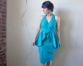 peplum dress halter top 80s midi dress teal deadstock NOS with tags// size 9 or medium