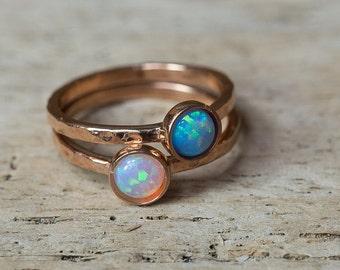 Rose Gold Rings, Opal Ring, Birthstone Ring, Stacking Rings, Whie Opal Ring, Blue Opal Ring, October Birthstone Ring, Nesting Rings, Dainty
