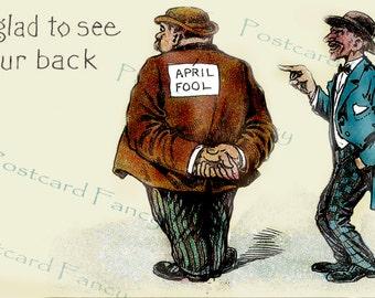 APRIL Fool, Calendar Month, Vintage Postcard, Instant Digital Download