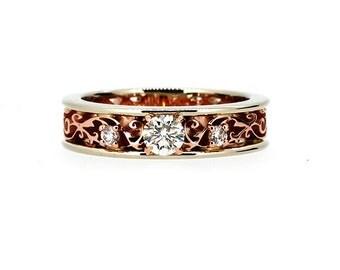 0.31ct Diamond filigree ring, two tone engagement ring, unique, rose gold filigree, white gold ring, vintage style, diamond wedding, custom