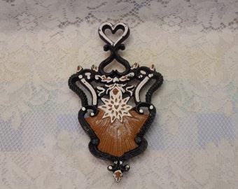 Vintage Trivet Hand Painted Victorian Style Heart and Flower Design Cast Iron Folk Art Cottage Chic Kitsch