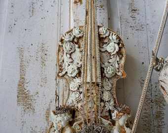 Violin art piece embellished musical instrument ornate French cherubs w/ roses and vintage rhinestone jewels home decor anita spero design