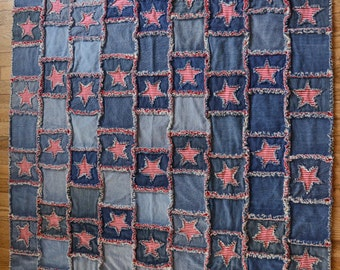 Denim Rag Throw Quilt - Aged Glory