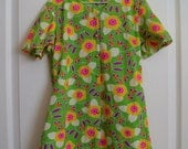 70s Mod Girl's Shift Dress / Childs Hippie Flutter Sleeve Flower Power Mini Dress / 1970s Girls Floral Retro Dress - Size 8/10