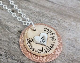 Mixed metal jewelry | Custom Grandmother necklace | Personalized necklace | Hand stamped necklace | Layered necklace | Gift for Grandmother