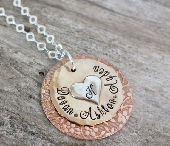 Mixed Metal Necklace - Hand Stamped Jewelry - flower pattern name necklace
