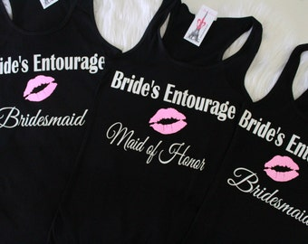 Brides Entourage, Bridesmaid T Shirts, Bridesmaid, Maid of Honor Shirt, Wedding shirt, Bridal Party Shirts, Bachelorette Shirts