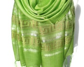 Green Scarf. Pistachio Scarf. Light Green Shawl. Metallic Viscose Scarf Shawl Gift for Her. Greek Lines Scarf. 20x70in (50x180cm) Ready2Ship