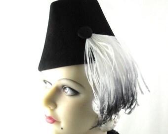 Womens Hat Black Fur Felt Velour White Feathers Handmade Hat Bride Church Ascot Derby Races Cloche Art Deco Custom Made for Each Client