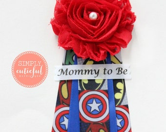 Superhero Mom Baby Shower Corsage with Super Mommy to Be Grandma to Be Pins Badge