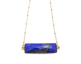 Gemstone Bar Necklace, Lapis Lazuli Necklace, Lapis Jewelry, Rectangle Necklace