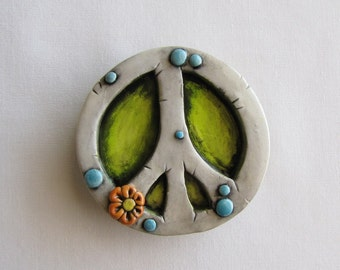 Peace Sign, Rustic Peace sign Magnet, Whimsical Peace Sign Refrigerator magnet