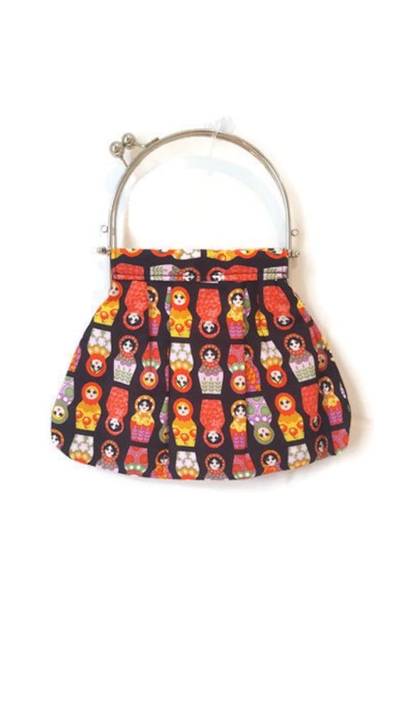 Small Frame Handbag with handle -Black Russian Doll matryoshka Babushka and lilac lining